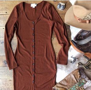 Savannah 7s copper ribbed midi dress